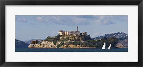 Framed Prison on an island, Alcatraz Island, San Francisco Bay, San Francisco, California Print