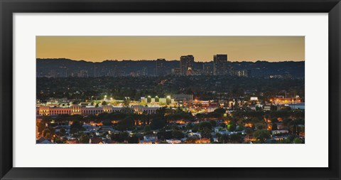 Framed Century City at dusk, Culver City, Los Angeles County, California Print