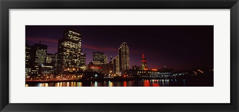 Framed Night view of San Francisco, California Print
