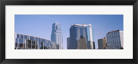 Framed Low angle view of downtown skyline, Town Pavilion, Kansas City, Missouri Print