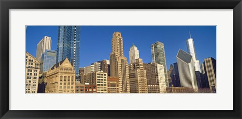 Framed Low angle view of city skyline, Michigan Avenue, Chicago, Cook County, Illinois, USA Print