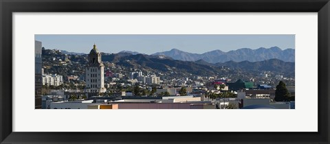 Framed High angle view of Beverly Hills, West Hollywood, Hollywood Hills, California Print