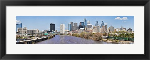 Framed Skyscrapers in a city, Liberty Tower, Comcast Center, Philadelphia, Pennsylvania, USA Print