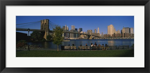Framed Brooklyn Bridge with skyscrapers in the background, East River, Manhattan, New York City Print