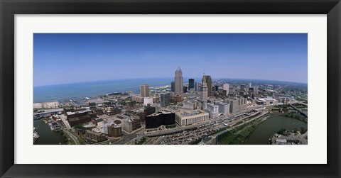 Framed Aerial view of buildings in a city, Cleveland, Cuyahoga County, Ohio, USA Print