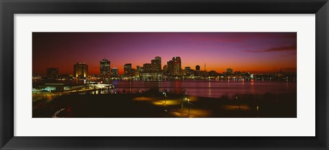 Framed Buildings lit up at night, New Orleans, Louisiana, USA Print