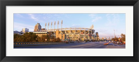 Framed Facade of a baseball stadium, Jacobs Field, Cleveland, Ohio, USA Print