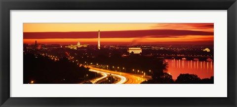 Framed Sunset, Aerial, Washington DC, District Of Columbia, USA Print