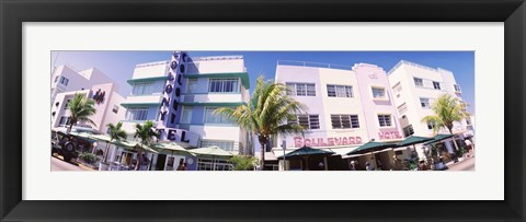 Framed Low angle view of buildings in a city, Miami Beach, Florida, USA Print