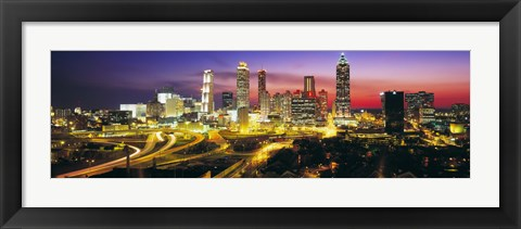 Framed Skyline, Evening, Dusk, Illuminated, Atlanta, Georgia, USA, Print