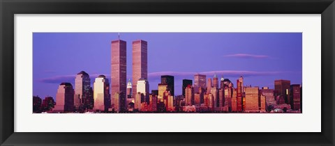 Framed Manhattan skyline with the Twin Towers, New York City, New York State, USA Print