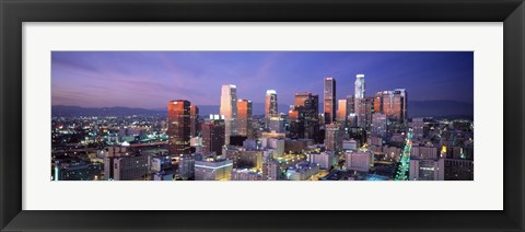 Framed Night, Skyline, Cityscape, Los Angeles, California, USA Print
