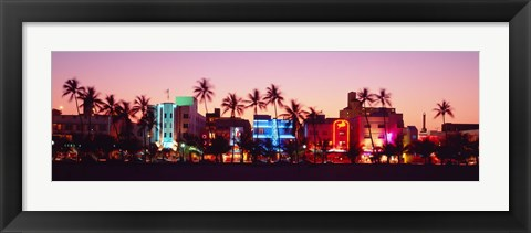 Framed Night, Ocean Drive, Miami Beach, Florida, USA Print