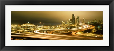 Framed Buildings lit up at night, Seattle, Washington State, USA Print