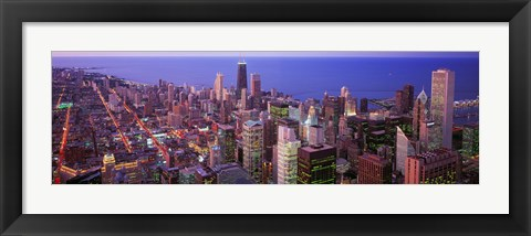 Framed Aerial View of Chicago with Purple Sky Print