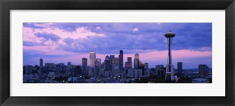 Framed Seattle Skyline with Purple Sky and Clouds Print