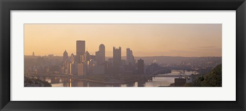 Framed USA, Pennsylvania, Pittsburgh, Allegheny & Monongahela Rivers, View of the confluence of rivers at twilight Print