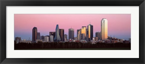 Framed Twilight, Dallas, Texas, USA Print