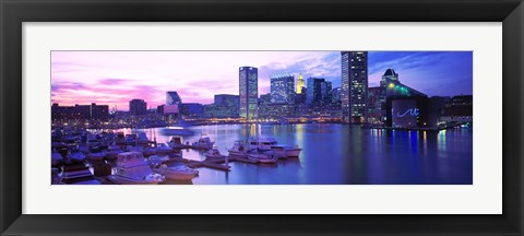 Framed Sunset, Inner Harbor, Baltimore, Maryland, USA Print