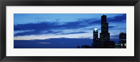 Framed Buildings in a city, Sears Tower, Chicago, Cook County, Illinois, USA Print