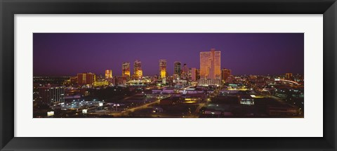Framed High angle view of skyscrapers lit up at night, Dallas, Texas, USA Print