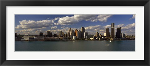 Framed Buildings at the waterfront, Detroit River, Detroit, Wayne County, Michigan, USA Print
