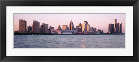 Framed Detroit Skyline with Water Print