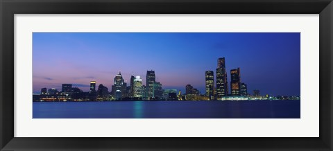 Framed Detroit Skyline at night, Michigan Print