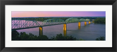 Framed USA, Missouri, High angle view of railroad track bridge Route 54 over Mississippi River Print
