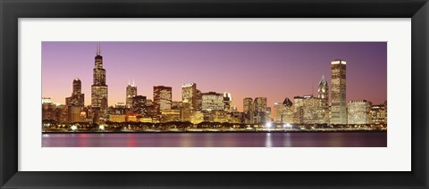 Framed Dusk Skyline Chicago IL USA Print