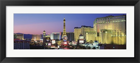 Framed Strip dusk Las Vegas NV USA Print
