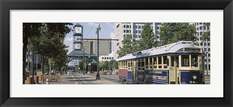Framed View Of A Tram Trolley On A City Street, Court Square, Memphis, Tennessee, USA Print