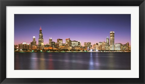 Framed Skyscrapers lit up at night at the waterfront, Lake Michigan, Chicago, Cook County, Illinois, USA Print