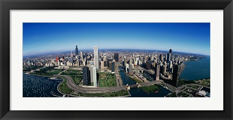 Framed Aerial view of Chicago IL Print