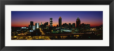 Framed Atlanta skyline at night, GA Print