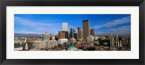 Framed Skyline View of Denver Colorado in the Day Print