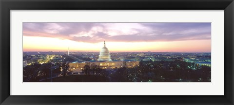 Framed Twilight, Capitol Building, Washington DC, District Of Columbia, USA Print