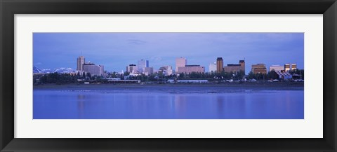 Framed Buildings at the waterfront, Anchorage, Alaska, USA Print