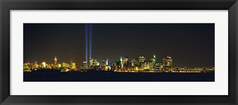 Framed New York City Lit Up at Night Print