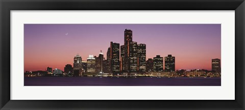 Framed Detroit at dusk, Michigan Print