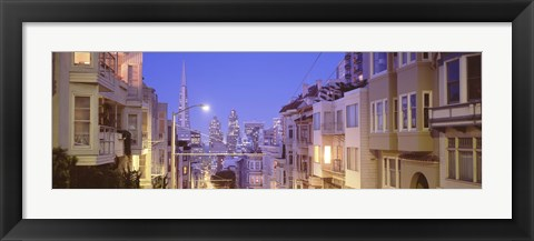 Framed San Francisco Street with view of Skyscrapers Print