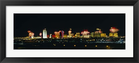 Framed Distant View of Buildings Lit Up At Night, Las Vegas, Nevada, USA Print