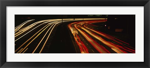 Framed High angle view of traffic on a road at night, Oakland, California, USA Print