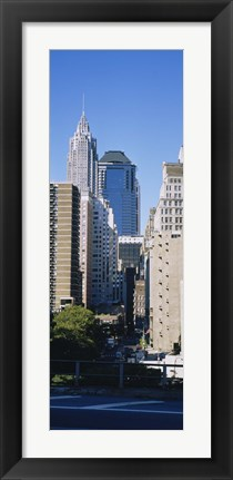 Framed Low angle view of Manhattan skyscrapers, New York City Print
