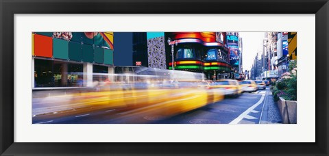 Framed Yellow Cabs in Times Square, NYC Print