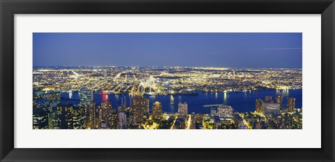 Framed Aerial View Of Buildings Lit Up At Dusk, Manhattan Print