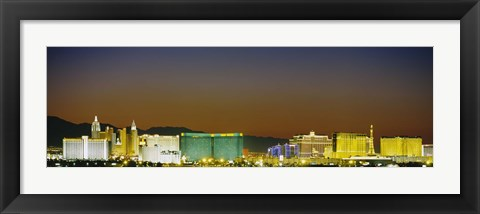 Framed Las Vegas skyline at night, Nevada Print