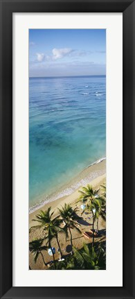 Framed High angle view of palm trees with beach umbrellas on the beach, Waikiki Beach, Honolulu, Oahu, Hawaii, USA Print