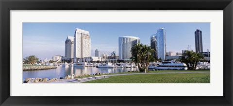 Framed Panoramic View Of Marina Park And City Skyline, San Diego, California, USA Print