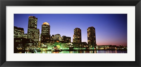 Framed Skyscrapers at the waterfront lit up at night, Boston, Massachusetts, USA Print